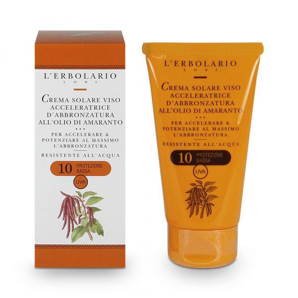 L'Erbolario Крем для быстрого загара лица с маслом амаранта SPF10 75 мл