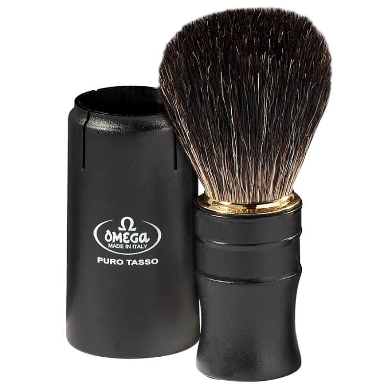 Omega 614 Помазок для бритья дорожный, барсучий ворс Pure badger, 11,7 см