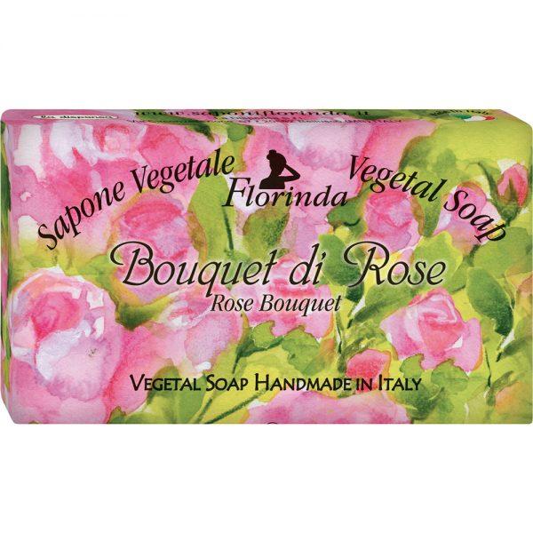 FLORINDA Цветочные Ноты Букет Розы растительное мыло ручной работы 100 г