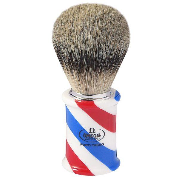 Omega 6735 Помазок для бритья, ворс серебристого барсука Super badger, 11,0 см