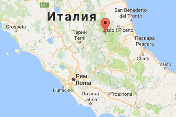 Регионы землетрясения на карте Италии