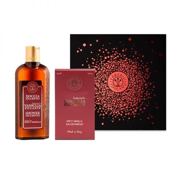 Erbario Toscano Пикантная ваниль подарочный набор шампунь-гель 250 мл + парфюм 50 мл